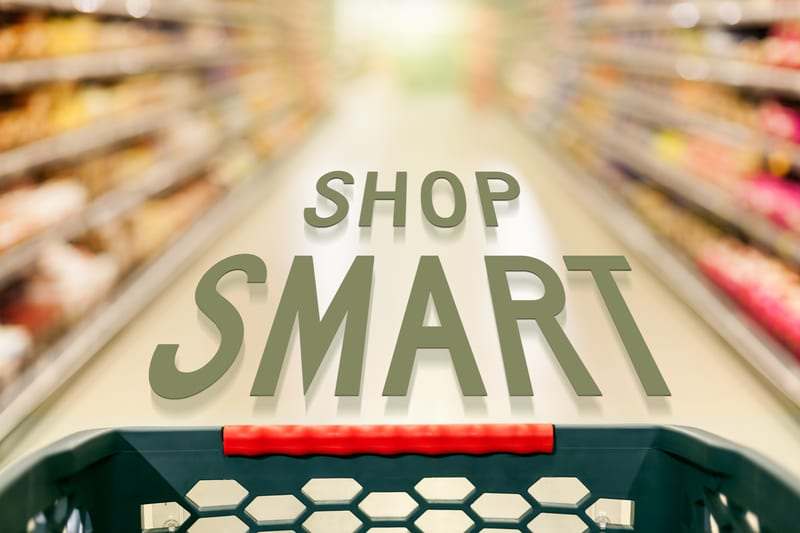 Shop smart: supermarket aisle