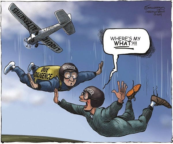 cartoon: skydiver without parachute
