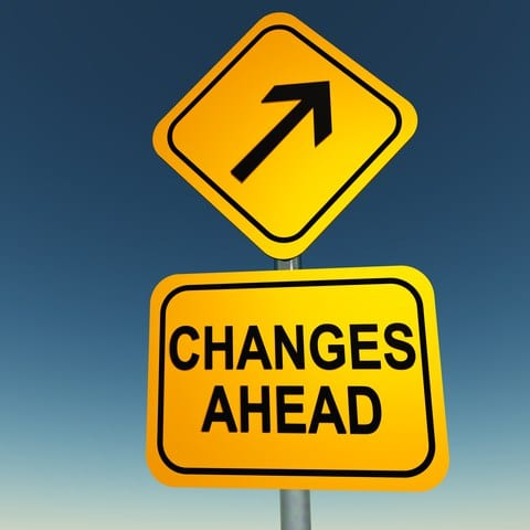 road sign: changes ahead
